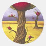 Surreal Cherry Tree Classic Round Sticker