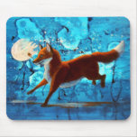Surreal Fantasy Red Fox Kitsune on Blue Mousepad