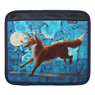 Surreal Fantasy Red Fox On Blue Illustration iPad Sleeve