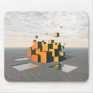 Surreal Floating Cubes Mouse Pad