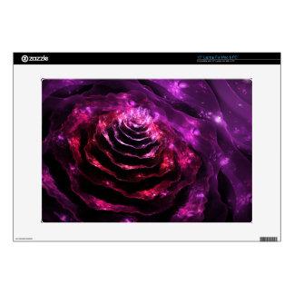 Surreal floral futuristic indigo violet  pattern laptop decals