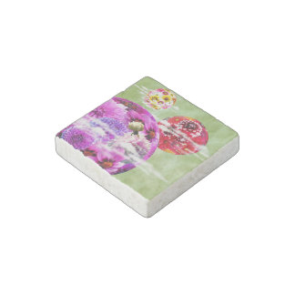 Surreal Flowers and Coins Stone Magnet