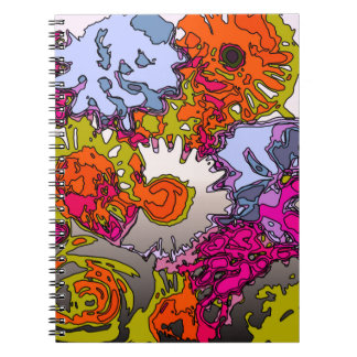 Surreal Flowers,orange Spiral Note Book