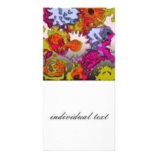 surreal flowers orange photo card