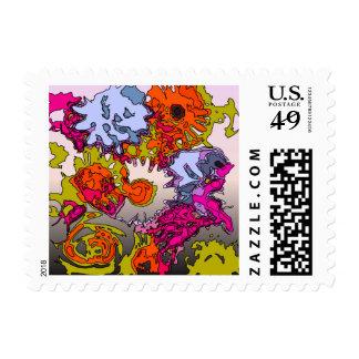 surreal flowers orange postage stamps