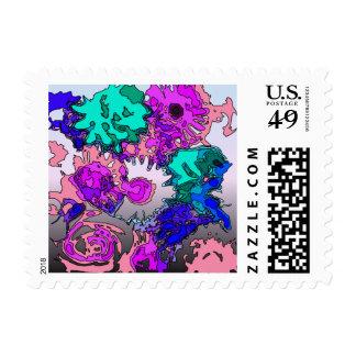 surreal flowers,pink postage