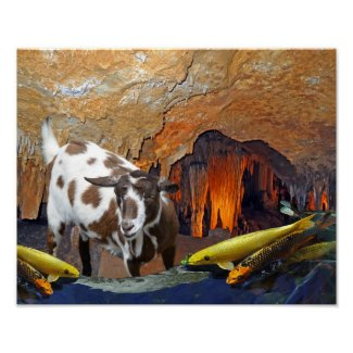 Surreal Goat and Goldfish in a Glowing Cave Poster