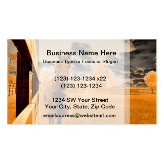 surreal horse walking down fence orange sky Double-Sided standard business cards (Pack of 100)