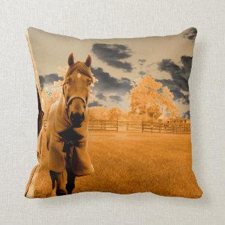 surreal horse walking down fence orange sky throw pillow