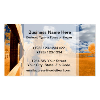 surreal horse walking fence orange blue sky business card