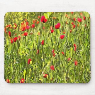 Surreal Hypnotic Poppies Mouse Pad
