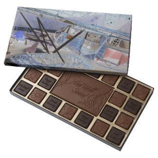 Surreal image of a vintage plane in its hangar assorted chocolates