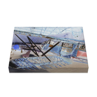 Surreal image of a vintage plane in its hangar canvas print