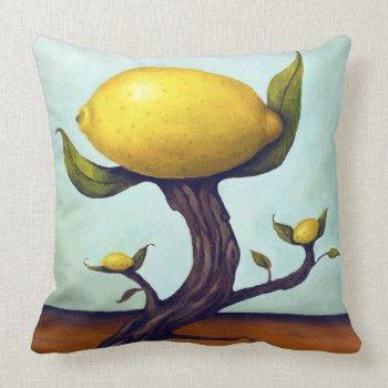 Surreal Lemon Tree Throw Pillows