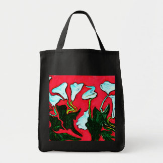 surreal lilies grocery tote canvas bag