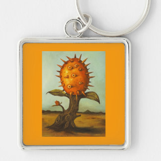 Surreal Melon Tree Silver-Colored Square Keychain
