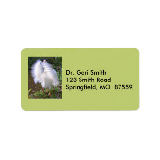 Surreal Motion Blurred Picture Of White Goose Flap Label