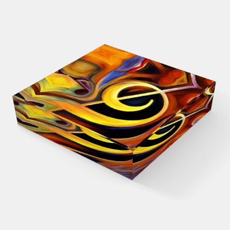 Surreal Music Notes Clef  Home Office Desk Paperweight