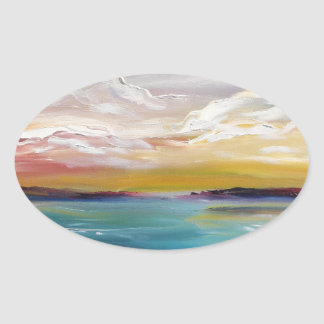 Surreal Ocean Waves and Clouds Oval Sticker