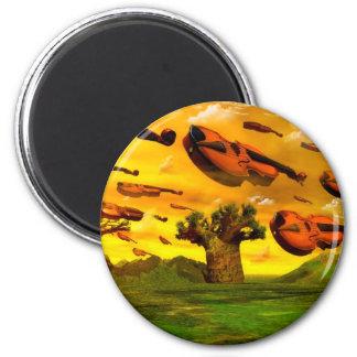 Surreal, optical illusion, music violin piano fridge magnet