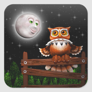 Surreal Owl and Moon Stickers