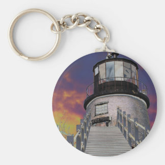 Surreal Owls Head Lighthouse Basic Round Button Keychain