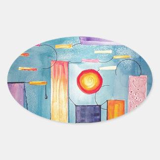 Surreal Painting original art Oval Sticker