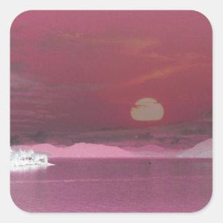 Surreal Pink Fantasy World Ocean Sunset Square Sticker
