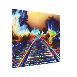Surreal Railroad Tracks in Radioactive Mist Canvas Print