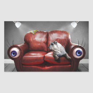 Surreal Red Couch Alive Rectangular Sticker