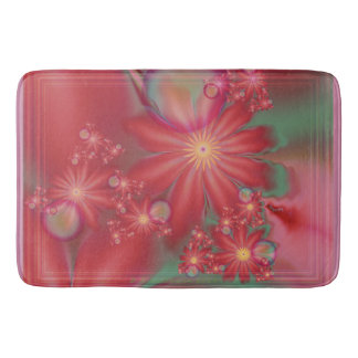 Surreal Red Floral Bath Mat