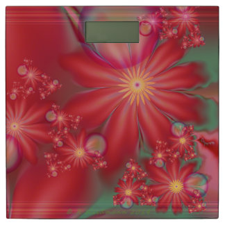 Surreal Red Floral Bathroom Scale