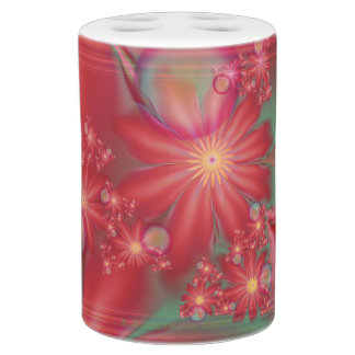 Surreal Red Floral Soap Dispenser And Toothbrush Holder