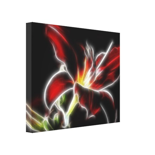Surreal Red Lily Floral Wrapped Canvas Gallery Wrapped Canvas