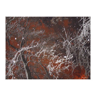 Surreal Red Sky Winter Snowy Trees and Snowflakes Canvas Print