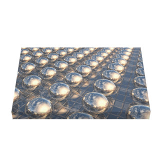 Surreal Reflecting 3D Metal Spheres Stretched Canvas Print