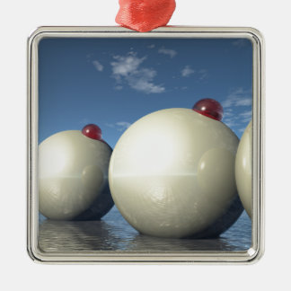 Surreal Spheres Structure Square Metal Christmas Ornament