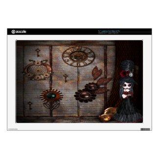 Surreal Steampunk Garden & Goth Girl Laptop Skin musicskins_skin