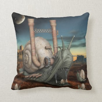 Surreal Steampunk Snail Throw Pillow