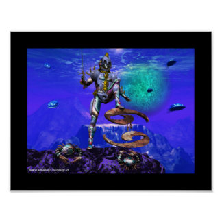 SURREAL UNDERSEA / Cancer Zodiac Birthday Sign Poster