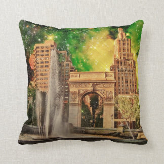 Surreal Washington Square Park, NYC Throw Pillow