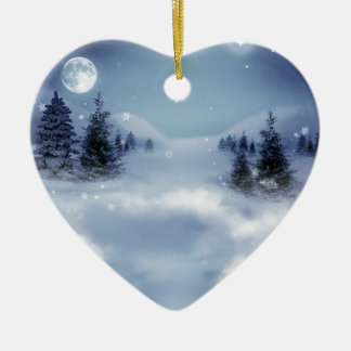 Surreal Winter Double-Sided Heart Ceramic Christmas Ornament