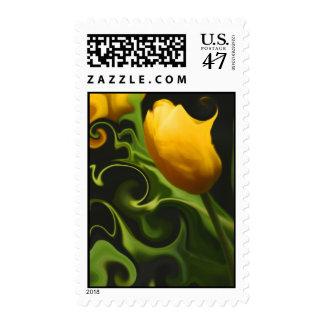 Surreal Yellow Tulip US Postage Stamp