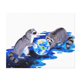 Surrealism Fantasy Raccons Playing in Space Canvas Print