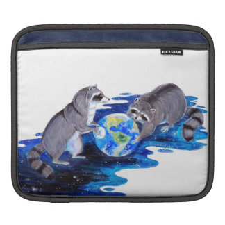 Surrealism Fantasy Raccons Playing in Space iPad Sleeve