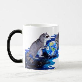 Surrealism Fantasy Raccons Playing in Space Magic Mug