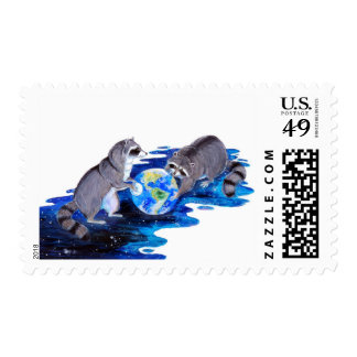 Surrealism Fantasy Raccons Playing in Space Stamp