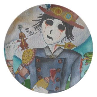 Surrealism - Undead Steampunk boy -plate Dinner Plate