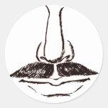 Surrealist del vintage del bigote pegatinas redondas