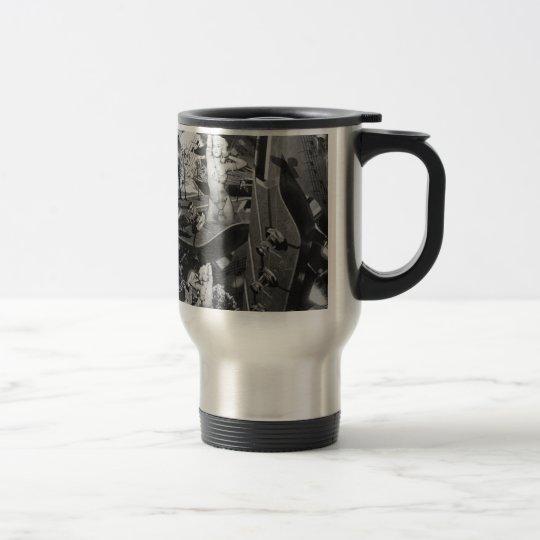 Surrealist guitar landscape artwork. travel mug